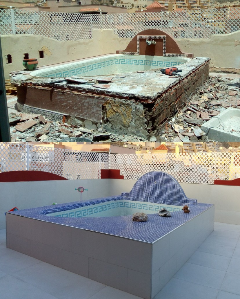piscina antes y después